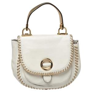 Michael Kors White/Gold Leather Isadore Stitch Top Handle Bag