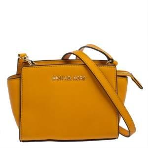 Michael Kors Mustard Saffiano Leather Mini Selma Crossbody Bag