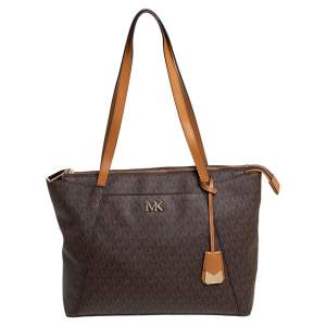 Michael Kors Brown/Tan Signature Coated Canvas and Leather Maddie Tote
