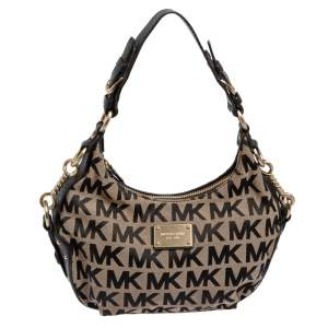 Michael Kors Beige/Black Signature Canvas and Leather Hobo