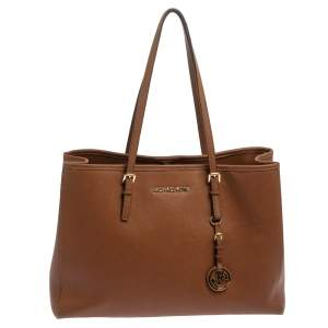 Michael Kors Brown Leather Large Jet Set Tote