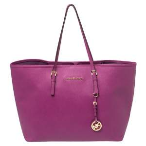 Michael Kors Purple Saffiano Leather Large Jet Set Travel Tote