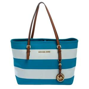 Michael Kors Blue/White Striped Coated Canvas Travel Jet Set Tote