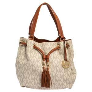 MICHAEL Michael Kors White/Brown Signature Coated Canvas and Leather Gathered Tote