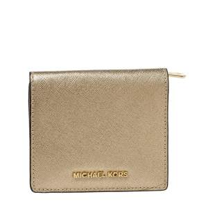 Michael Kors Metallic Gold Leather Compact Wallet