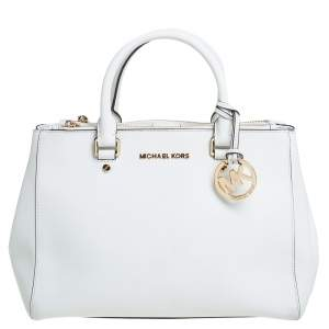 MICHAEL Michael Kors White Leather Medium Sutton Tote