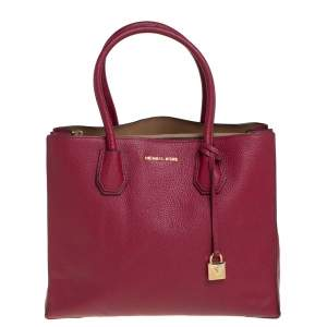 Michael Kors Burgundy Grained Leather Large Mercer Tote