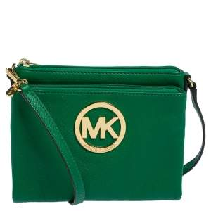 Michael Kors Green Leather Fulton Crossbody Bag