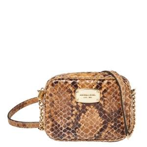 Michael Kors Brown Python Embossed Leather Wallet On Chain