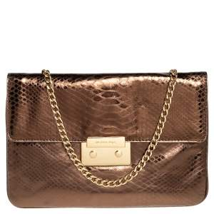 Michael Kors Bronze Python Effect Leather Pushlock Flap Slim Shoulder Bag