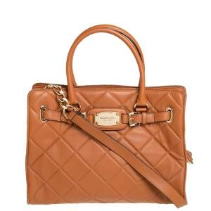 Michael Kors Tan Large Quilted Leather Hamilton Tote