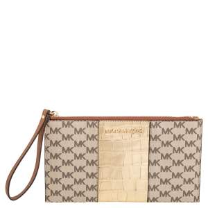 Michael Kors Beige/Gold Croc Embossed Leather and Signature Coated Canvas Large Jet Set Wristlet Clutch