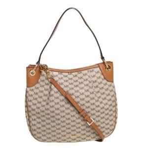 Michael Kors Beige/Brown Signature Coated Canvas and Leather Jet Set Hobo