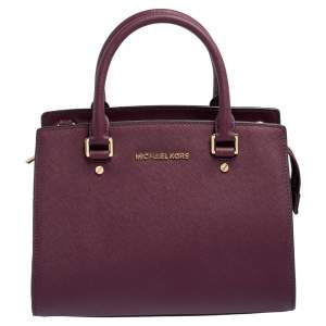 Michael Kors Burgundy Saffiano Leather Savannah Satchel