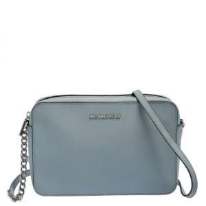 Michael Kors Powder Blue Patent Leather Jet Set Crossbody Bag