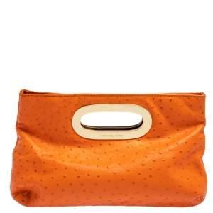 Michael Kors Orange Ostrich Embossed Leather Berkley Clutch