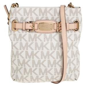 Michael Kors Cream/Tan Coated Canvas and Leather Hamilton Crossbody Bag