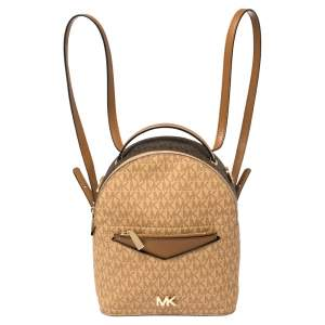 Michael Kors Brown/Tan Signature Coated Canvas and Leather Jessa Backpack