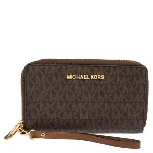 Michael Kors Brown Monogram Coated Canvas Zip Around Wallet