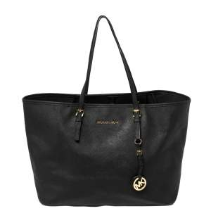 Michael Kors Black Saffiano Leather Large Jet Set Travel Tote