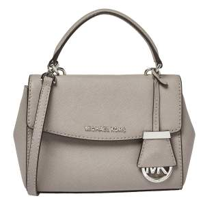 Michael Kors Grey Leather Mini Ava Top Handle Bag