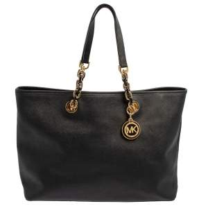 MICHAEL Michael Kors Black Saffiano Leather Large Cynthia Tote
