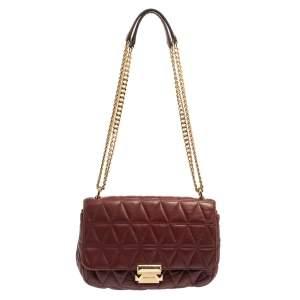Michael Kors Burgundy Leather Large Sloan Shoulder Bag
