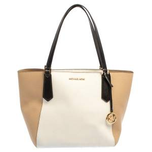 Michael Kors Beige/White Leather Kimberly Tote