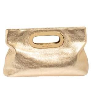 MICHAEL Michael Kors Metallic Gold Leather Berkley Clutch