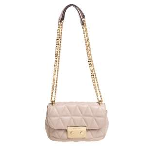 Michael Kors Pink Matelasse Leather Small Sloan Shoulder Bag