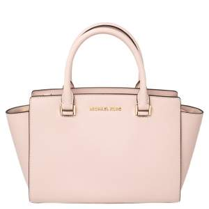 Michael Kors Pink Saffiano Leather Medium Selma Tote