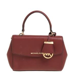 Michael Kors Dark Red Leather Small Ava Top Handle Bag