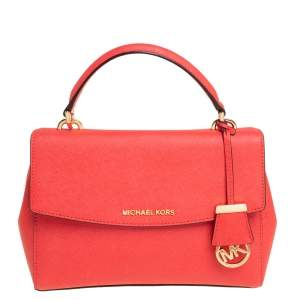 Michael Kors Red Leather Small Ava Top Handle Bag