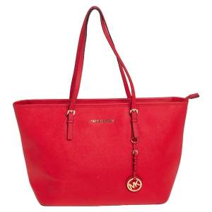 Michael Kors Red Leather Large Jet Set Travel Tote