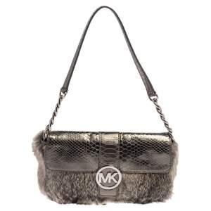 Michael Kors Metallic Grey Python Embossed Leather and Rabbit Fur Fulton Baguette