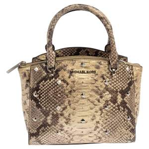 Michael Kors Metallic Gold and Black Python Embossed Leather Tote