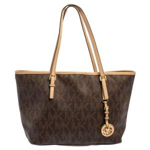 Michael Kors Brown/Beige Signature Coated Canvas and Leather Small Jet Set Travel Tote