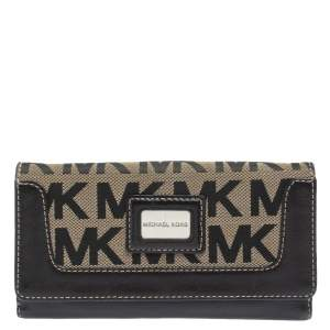 Michael Kors Beige/Black Signature Coated Canvas and Leather Brookville Caryall Continental Wallet