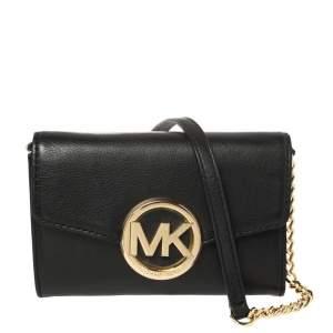 Michael Kors Black Leather Hudson Crossbody Bag