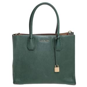 Michael Kors Green Grained Leather Large Mercer Tote