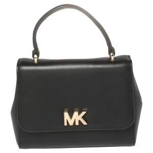 Michael Kors Black Leather Mott Top Handle Bag