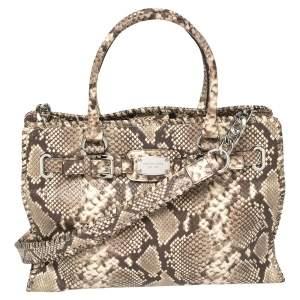 حقيبة يد توتس ميشيل كورس هاميلتون جلد بنقشة جلد الثعبان بني / بيج