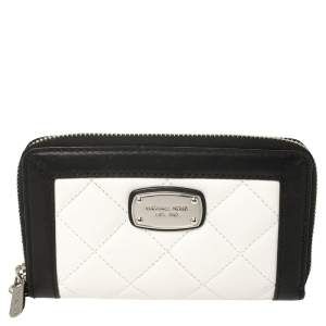 Michael Kors White/Black Quilted Leather Wristlet Wallet