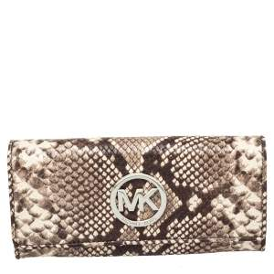 Michael Kors White/Brown Python Embossed Leather Flap Continental Wallet