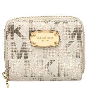 Michael Kors White/Beige Compact Wallet