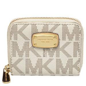 Micheal Kors White Signature Coated Canvas Zip Around Compact Wallet