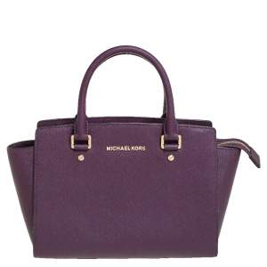 Michael Kors Purple Saffiano Leather Medium Selma Tote