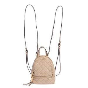 Michael Kors Beige Quilted Leather Rhea Backpack