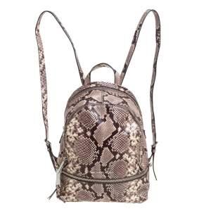 Michael Kors Beige/Brown Python Embossed Leather Small Rhea Backpack