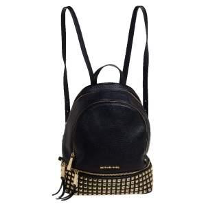 Michael Kors Black Leather Small Studded Rhea Backpack